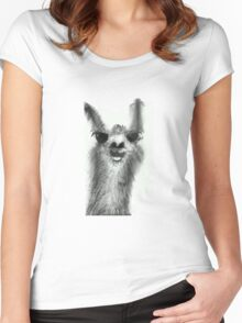 Centrally-Located Llama Women's Fitted Scoop T-Shirt