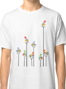 Colorful Tweet Birds On Dotted Trees With Dark Branches Classic T-Shirt