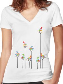 Colorful Tweet Birds On Dotted Trees With Dark Branches Women's Fitted V-Neck T-Shirt