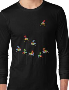 Colorful Tweet Birds On Dotted Trees With Dark Branches Long Sleeve T-Shirt