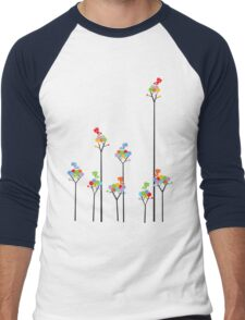 Colorful Tweet Birds On Dotted Trees With Dark Branches Men's Baseball ¾ T-Shirt