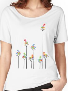 Colorful Tweet Birds On Dotted Trees With Dark Branches Women's Relaxed Fit T-Shirt