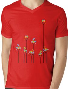 Colorful Tweet Birds On Dotted Trees With Dark Branches Mens V-Neck T-Shirt