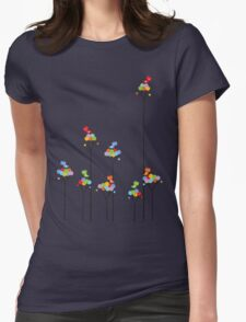 Colorful Tweet Birds On Dotted Trees With Dark Branches Womens Fitted T-Shirt