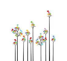 Colorful Tweet Birds On Dotted Trees With Dark Branches Photographic Print
