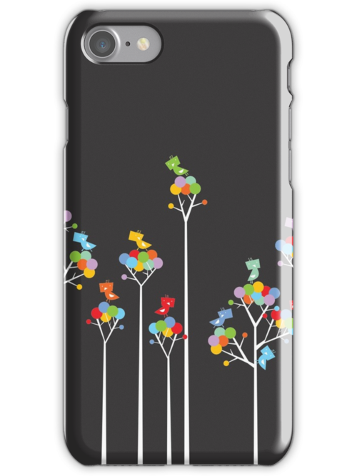 Colorful Tweet Birds On White Branches by fatfatin