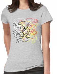 Abstract scribbles in red, black, white, yellow Womens Fitted T-Shirt
