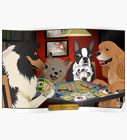 Dogs Playing Settlers of Catan Poster