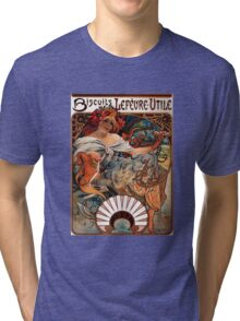 'Biscuits Lefevre-Utile' by Alphonse Mucha (Reproduction) Tri-blend T-Shirt
