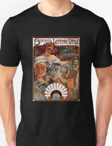 'Biscuits Lefevre-Utile' by Alphonse Mucha (Reproduction) Unisex T-Shirt