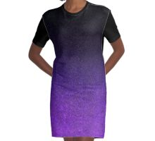 Purple & Black Glitter Gradient Graphic T-Shirt Dress