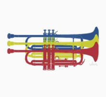 Three Trumpets blue yellow red One Piece - Short Sleeve