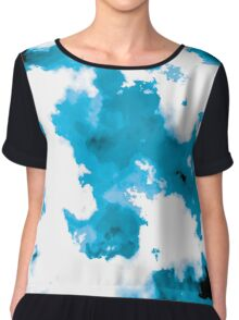 blue and black watercolor Chiffon Top