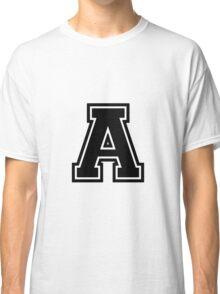 "Letter ""A""  - Varsity / Collegiate Font - Black Print Classic T-Shirt"