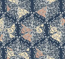 Organic Hexagon Pattern in Soft Navy & Cream  by micklyn