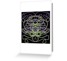 Abstract in black, green, lavender Greeting Card