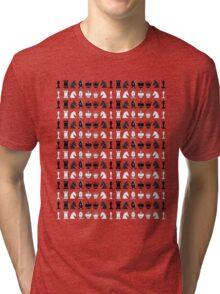 Black White Chess Pieces Pattern Tri-blend T-Shirt