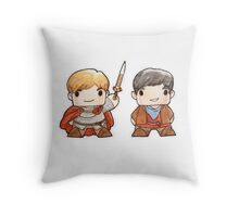 Merlin and Arthur Biddys.  Throw Pillow