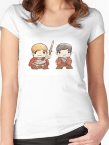 Merlin and Arthur Biddys.  Women's Fitted Scoop T-Shirt