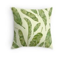 pattern with banana leaves Throw Pillow