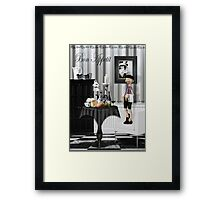 Bon Appetit Black Canvas Framed Print