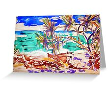 Stradbroke Island  Pandanas in Ink/acrylic Greeting Card
