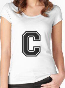 """Letter """"C""""  - Varsity / Collegiate Font - Black Print Women's Fitted Scoop T-Shirt"""