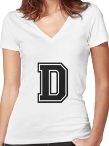 """Letter """"D""""  - Varsity / Collegiate Font - Black Print Women's Fitted V-Neck T-Shirt"""