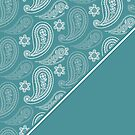 Teal and White Paisley Pattern Diagonal by Greenbaby