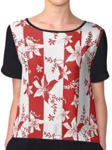 Seamless flowers retro pattern with stripes background Chiffon Top