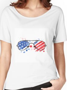 Hipster Glasses with stars and strips. Women's Relaxed Fit T-Shirt