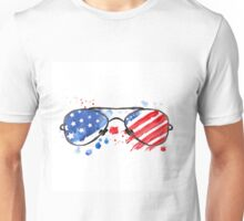 Hipster Glasses with stars and strips. Unisex T-Shirt