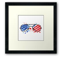 Hipster Glasses with stars and strips. Framed Print