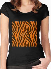 Orange Zebra Animal Print Pattern Women's Fitted Scoop T-Shirt