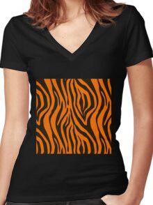 Orange Zebra Animal Print Pattern Women's Fitted V-Neck T-Shirt