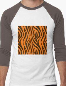 Orange Zebra Animal Print Pattern Men's Baseball ¾ T-Shirt