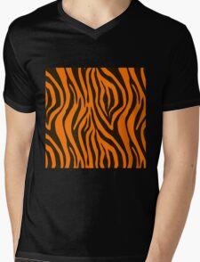 Orange Zebra Animal Print Pattern Mens V-Neck T-Shirt