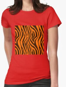 Orange Zebra Animal Print Pattern Womens Fitted T-Shirt