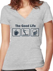 Funny Waterskiing Good Life Women's Fitted V-Neck T-Shirt