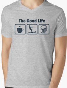 Funny Waterskiing Good Life Mens V-Neck T-Shirt