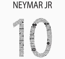 Neymar Jr Typographic Black Brazil  by Ingleburt