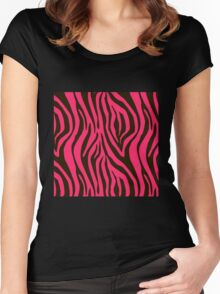 Pink Zebra Animal Print Pattern Women's Fitted Scoop T-Shirt
