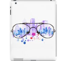Watercolor vintage glasses New York with drops and splash iPad Case/Skin