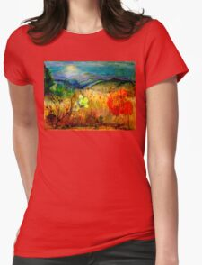 At the Edge of Dreaming Fields Womens Fitted T-Shirt