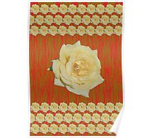 Yellow Rose Distorted on Red and Green Poster
