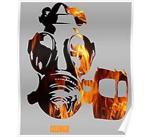FLAMING GAS MASK Poster