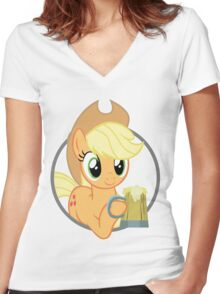 How 'bout a drink, Sugarcube? - white outline Women's Fitted V-Neck T-Shirt