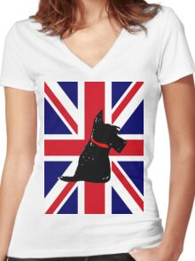 Scottie Dog Union Jack Women's Fitted V-Neck T-Shirt