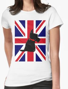Scottie Dog Union Jack Womens Fitted T-Shirt