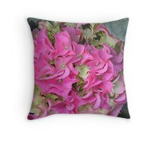 Pink Hydrangea Floral Pillow Throw Pillow